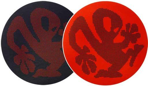 2x Slipmats - Plasticman Dots - Black & Red