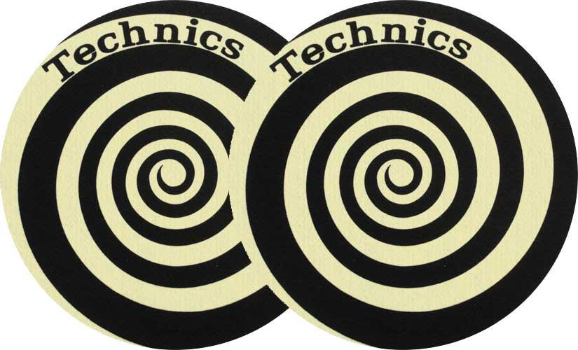 2x Slipmats Technics Spiral Reflex - amarillo
