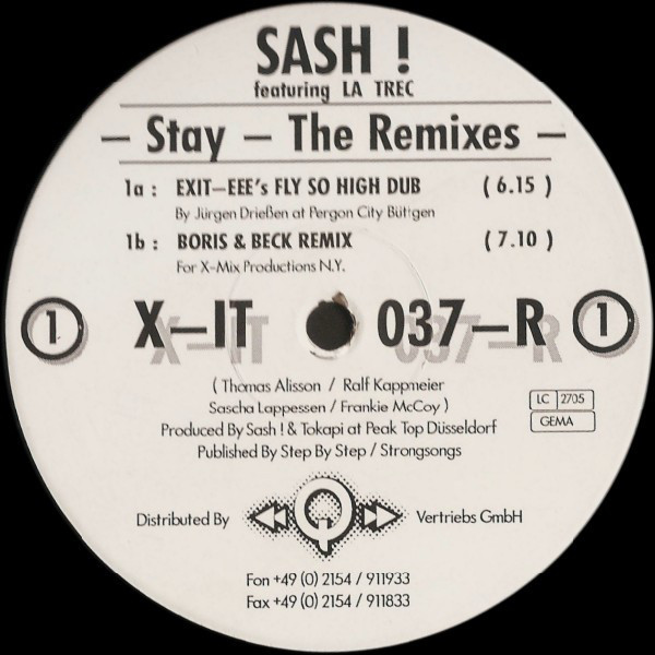 (CM547) Sash ! Featuring La Trec – Stay - The Remixes