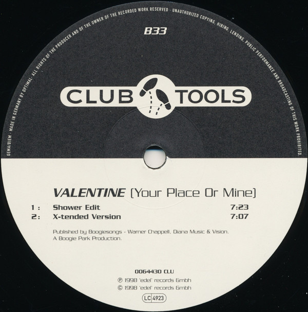 (A1398) Valentine ‎– Your Place Or Mine