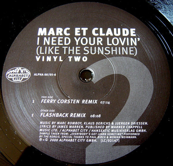 (24638) Marc Et Claude – I Need Your Lovin' (Like The Sunshine)
