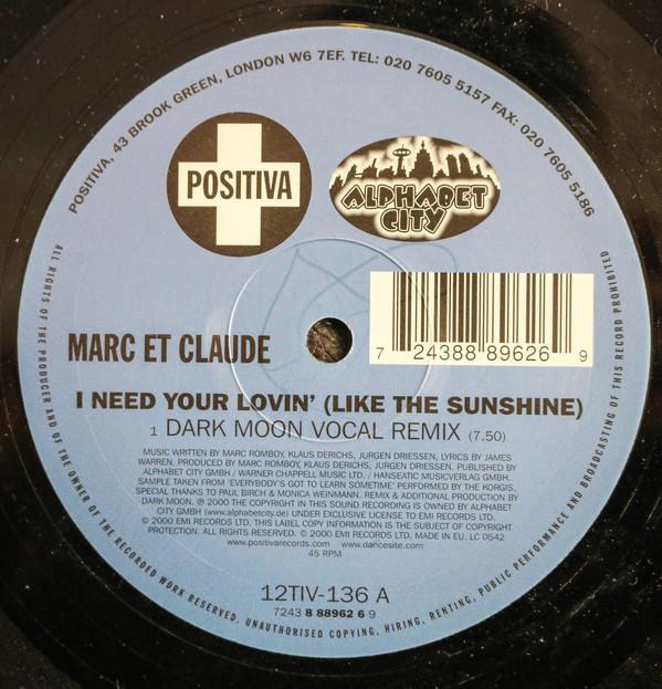 (24638B) Marc Et Claude – I Need Your Lovin (Like The Sunshine)