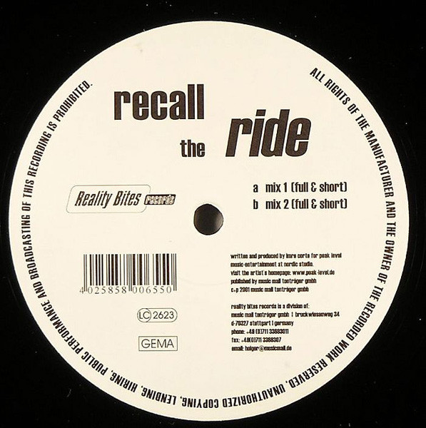 (A1849) Recall – The Ride